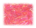 7 x 2mm Red Luster Bugle Bead, 1 oz. bag