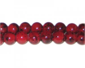 10mm Deep Red Marble-Style Glass Bead, approx. 21 beads