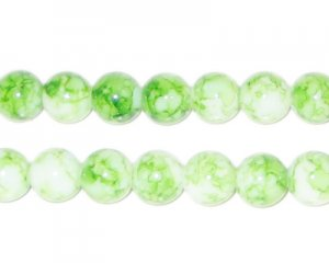 8mm Light Green Swirl Marble-Style Glass Bead, approx. 35 beads
