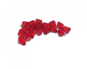 8mm Red Side-Drilled Faceted Bi-cone Glass Bead, 20 beads