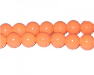12mm Bright Orange Team and School Glass Bead, approx. 18 beads