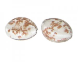 30 x 24mm White Foil Handmade Lampwork Glass Bead, 2 beads