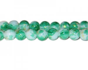 10mm Green GoldLeaf-Style Glass Bead, approx. 21 beads