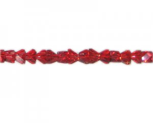 "8 x 6mm Red Faceted Glass Multi-Triangle Bead, 12"" string"