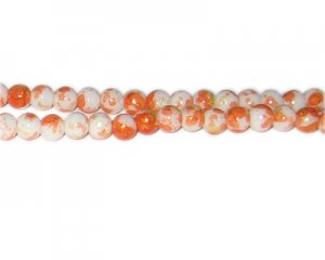 6mm Orange GoldLeaf-Style Glass Bead, approx. 72 beads