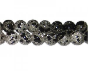 12mm Iris Crackle Spray Glass Bead, approx. 18 beads