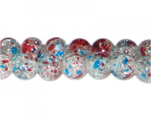 12mm 4th of July Crackle Season Glass Bead, approx. 14 beads