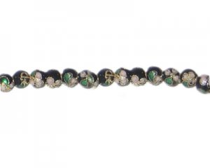4mm Black Round Cloisonne Bead, 10 beads