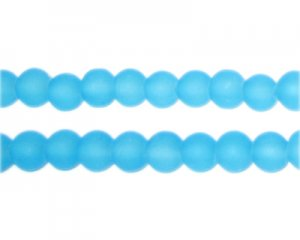 6mm Turquoise Sea/Beach-Style Glass Bead, approx. 48 beads