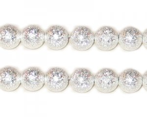 8mm Silver Round Stardust Brass Bead, approx. 15 beads