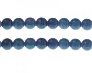 10mm Lapis Duo-Style Glass Bead, approx. 16 beads