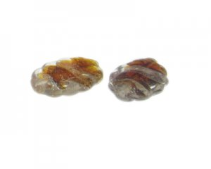 24 x 32mm Brown Foil Lampwork Oval Glass Bead, 2 beads