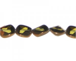 14mm Light Gold Vintage-Style Glass Bead, approx. 5 beads