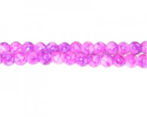 6mm Hot Pink Marble-Style Glass Bead, approx. 72 beads
