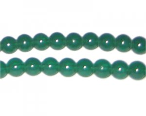8mm Hunter Green Jade-Style Glass Bead, approx. 77 beads