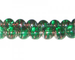 12mm Christmas Chill Abstract Glass Bead, approx. 18 beads