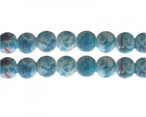 12mm Turquoise/Red Swirl Marble-Style Glass Bead, approx. 14 bea