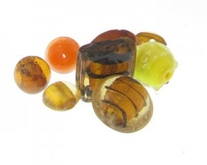 Approx. 1.5oz. Brown/Gold/Yellow/Orange Glass Lampwork Bead Mix