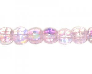 10mm Pink AB Finish Faceted Glass Bead, 15 beads