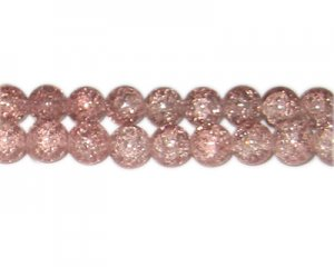 10mm Dusty Pink Crackle Bead, approx. 21 beads