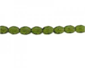 "10 x 8mm Apple Green Faceted Drop Glass Bead, 6"" string"