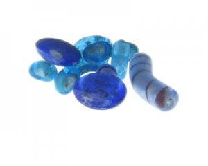 Approx. 1.5 - 2oz. Blue/Turquoise Lampwork Glass Bead Mix