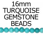 16mm Round Turquoise Bead, approx. 8 beads