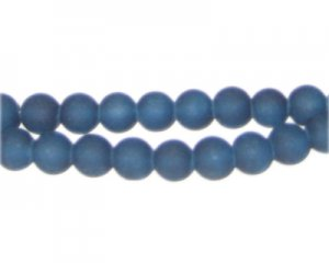 8mm Petrol Blue Sea/Beach-Style Glass Bead, approx. 35 beads