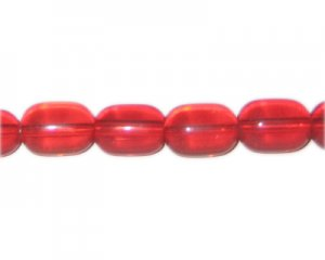 "16 x 12mm Red Pressed Glass Rounded Tube Bead, 13"" string"