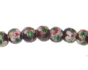 8mm Maroon Round Cloisonne Bead, 7 beads