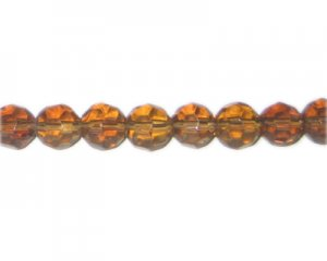 "12mm Bronze Faceted Round Glass Bead, 13"" string"