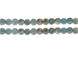 8mm Blue/Gray Duo-Style Glass Bead, approx. 35 beads