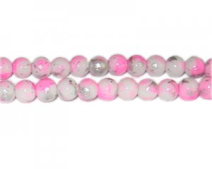 8mm Hot Pink SilverLeaf-Style Glass Bead, approx. 54 beads