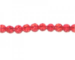 "8mm Red Faceted Round Glass Bead, 13"" string"