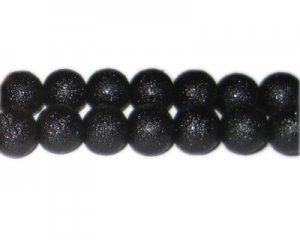 12mm Black Rustic Glass Pearl Bead, approx. 17 beads