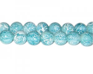 12mm Baby Blue Swirl Marble-Style Glass Bead, approx. 18 beads