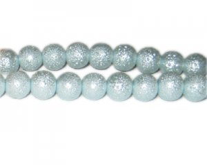 10mm Pale Blue Rustic Glass Pearl Bead, approx. 23 beads