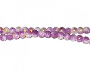 6mm Purple GoldLeaf-Style Glass Bead, approx. 72 beads