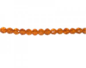 "6mm Orange Faceted Round Glass Bead, 13"" string"
