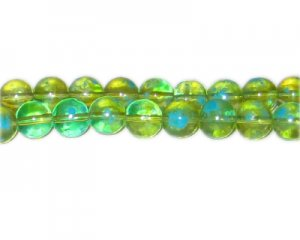 10mm Green Blossom Spray Glass Bead, approx. 21 beads