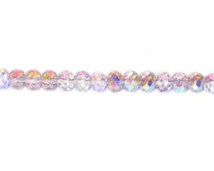 "6 x 8mm Pink AB Finish Faceted Rondelle Glass Bead, 14"" string"