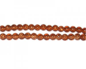 6mm Golden Brown Crackle Glass Bead, approx. 74 beads