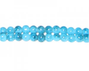 6mm Turquoise-Style Glass Bead, approx. 72 beads