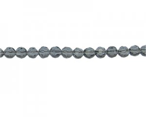 "8mm Gray Blue Faceted Glass Bead, 14"" string"