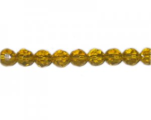 "10mm Yellow Gold Faceted Round Glass Bead, 13"" string"