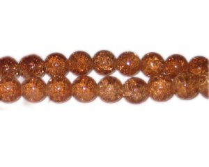 10mm Golden Brown Crackle Bead, approx. 21 beads