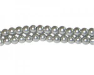 6mm Silver Green Glass Pearl Bead, approx. 78 beads