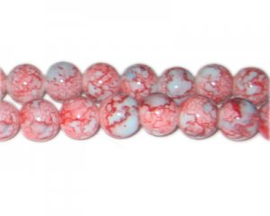 12mm Red/Gray Marble-Style Glass Bead, approx. 18 beads