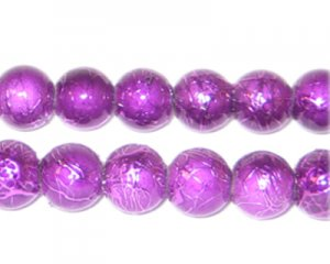 10mm Violet Drizzled Glass Bead, approx. 17 beads