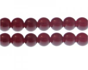 12mm Blood Red Jade-Style Glass Bead, approx. 18 beads